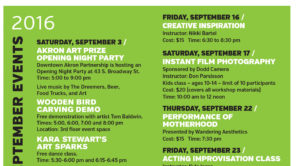 Download our list of Akron Art Prize events and then start syncing your calendar! Affordable workshops!